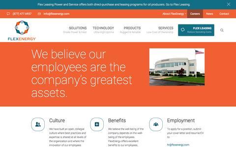 Screenshot of Jobs Page flexenergy.com - Careers - FlexEnergy - captured Nov. 25, 2016