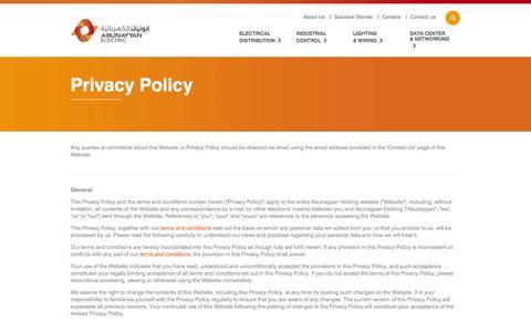 Screenshot of Privacy Page abunayyanelectric.com - Privacy Policy - captured Nov. 2, 2014