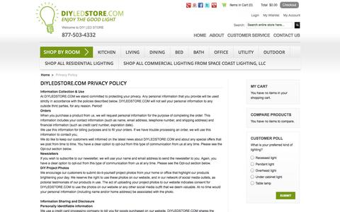 Screenshot of Privacy Page diyledstore.com - LED Bulbs Privacy Policy - captured Oct. 5, 2014