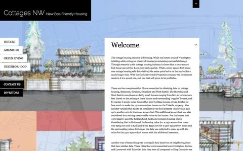 Screenshot of Home Page cottagesnw.com - Cottages NW   New Eco-Friendly Housing - captured Oct. 3, 2014