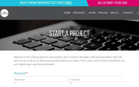 Screenshot of Pricing Page uzu-media.com - Start a Project - UZU Media - captured Nov. 7, 2018