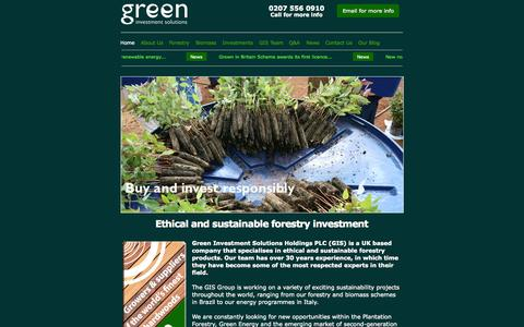 Screenshot of Home Page greenis.co.uk - Green Forestry Products from Green Investment Solutions - captured Sept. 25, 2014