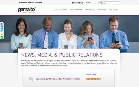 Screenshot of Press Page gemalto.com - News, Social Media and Public Relations - Gemalto Security - captured June 25, 2016
