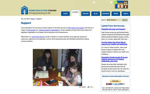 Screenshot of Support Page home-education.biz - UK home education support and resources - Home Education - captured Oct. 3, 2014