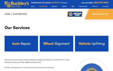 Screenshot of Services Page buckleysautocare.com - Wilmington Auto Services | Buckley's Auto Care - captured Dec. 1, 2019