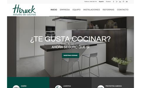 Screenshot of Home Page hiruek.com - Diseño de cocinas en Pamplona. Mobiliario de cocina - captured Aug. 14, 2017