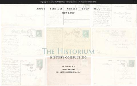 Screenshot of Home Page thehistorium.com - The Historium - captured Oct. 7, 2014
