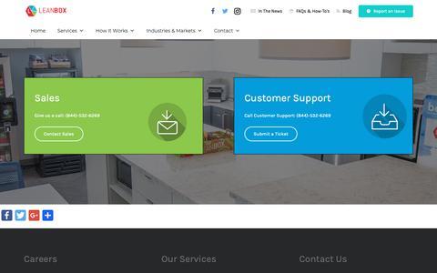 Screenshot of Contact Page leanbox.com - Fresh Food Vending | Employee Perk | New England - captured Oct. 21, 2018