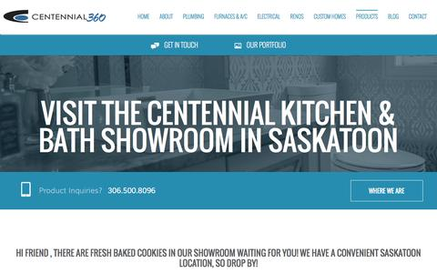 Screenshot of Products Page centennial360.com - Products | Centennial 360 | Saskatoon Plumbing, Heating, Electrical and Renovations - captured July 12, 2016