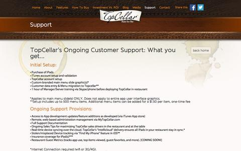 Screenshot of Support Page topcellarapp.com - Support - captured Oct. 7, 2014