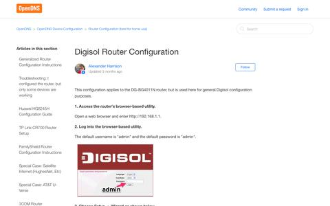 Screenshot of Support Page opendns.com - Digisol Router Configuration – OpenDNS - captured Sept. 25, 2017