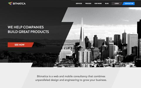 Screenshot of Home Page Services Page bitmatica.com - Bitmatica: We Help Companies Build Great Products - captured Sept. 30, 2014