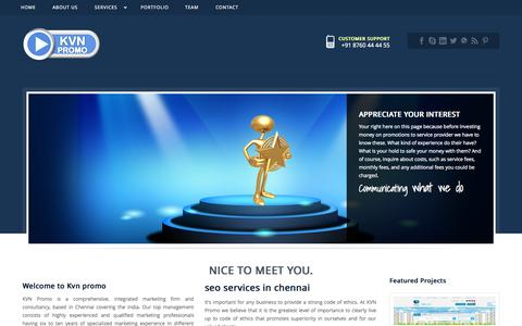 Screenshot of About Page kvnpromo.com - SEO SERVICES IN CHENNAI|TOP SEO COMPANY CHENNAI |Certified SEO company - captured Sept. 23, 2014