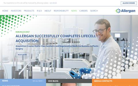 Screenshot of Press Page allergan.com - News - Press Releases - Allergan - Allergan - captured Feb. 15, 2017