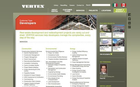 Screenshot of Developers Page vertexeng.com - The Vertex Companies - captured Oct. 2, 2014