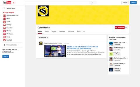 Screenshot of YouTube Page youtube.com - OpenHacks  - YouTube - captured Oct. 25, 2014
