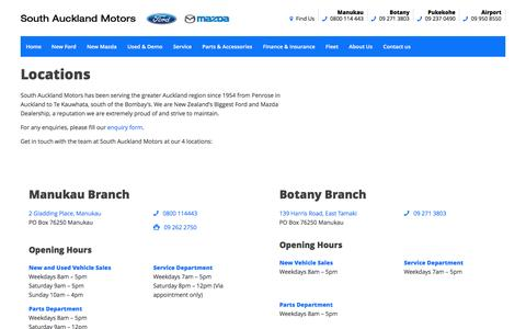 Screenshot of Locations Page southaucklandmotors.co.nz - Manukau, Botany, Pukekohe, Airport | South Auckland Motors - captured June 16, 2016