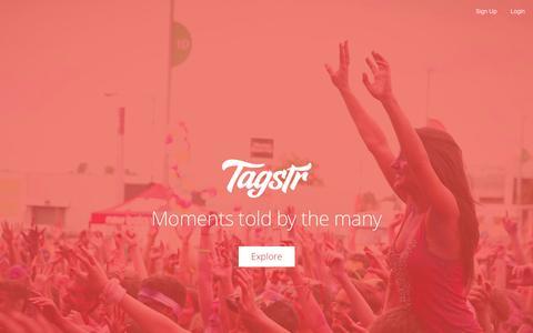 Screenshot of Home Page tagstr.co - Tagstr - captured Sept. 17, 2014