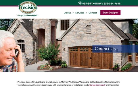 Screenshot of Contact Page precisiondoordetroit.com - Contact Us - Precision Door Detroit - captured Aug. 21, 2017