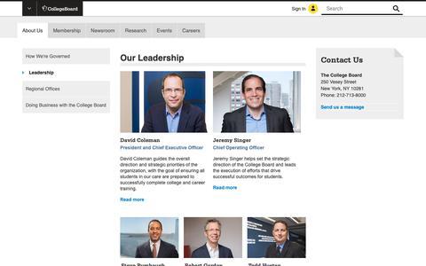 Screenshot of Team Page collegeboard.org - Our Leadership - College Board Key Member Biographies - captured Jan. 4, 2019