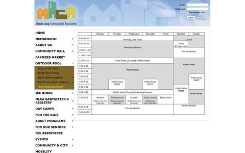 Screenshot of Hours Page mardaloop.com - Marda Loop Communities Association - Pool Schedule/Hours - captured Oct. 27, 2014