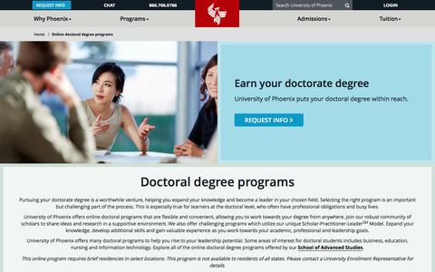 Screenshot of phoenix.edu - Online Doctorate Programs & Degrees - captured Dec. 9, 2016