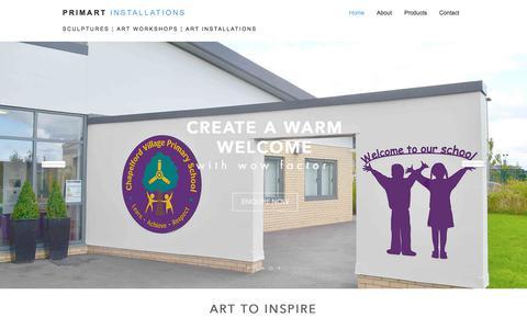 Screenshot of Home Page primart.org.uk - Primart Installations - Sculpture, Workshops, Art Installations - captured July 10, 2017