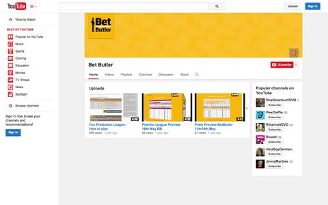 Screenshot of YouTube Page youtube.com - Bet Butler  - YouTube - captured Oct. 23, 2014