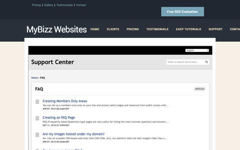 Screenshot of FAQ Page mybizzwebsites.com - MyBizz WebSite, Beverly, MA  |  FAQ - captured Oct. 19, 2018
