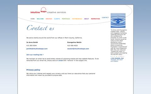 Screenshot of Privacy Page intuitiveleaps.com - Intuitive Leaps Creative Services | Contact - captured Oct. 6, 2014