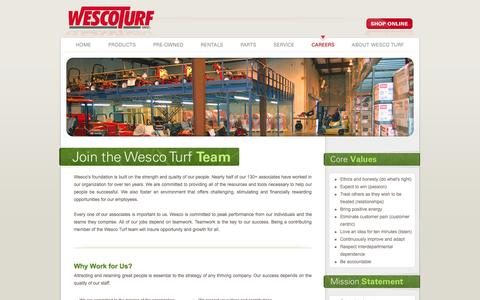 Screenshot of Jobs Page wescoturf.com - Wesco Turf, Inc. - New and Used Golf, Turf, and Grounds Equipment.  Toro Irrigation and water management systems. - captured Oct. 7, 2014