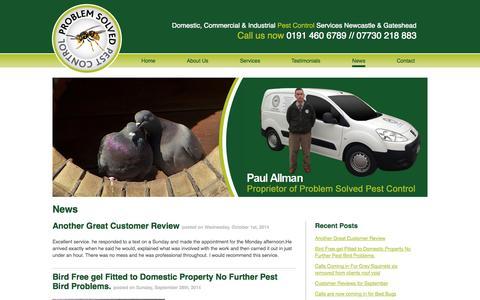 Screenshot of Press Page pspestcontrol.co.uk - News » Problem Solved Pest Control - captured Oct. 3, 2014