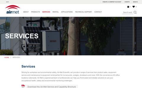 Screenshot of Services Page airmet.com.au - Services | Equipment Service & Maintenance - Air-Met Scientific - captured Nov. 6, 2018