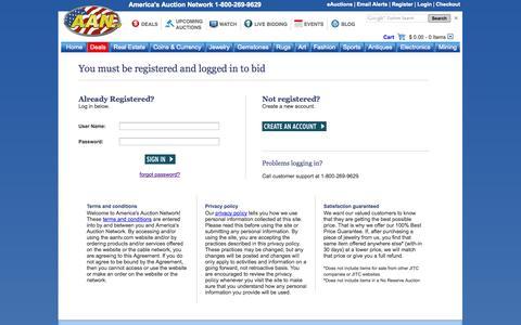 Screenshot of Login Page aantv.com - America's Auction Network | AAN - 1-800-269-9629 - www.AANtv.com - captured Sept. 25, 2014