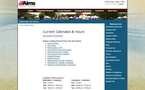 Screenshot of Hours Page aims.edu - Calendar and Hours - captured Sept. 24, 2014