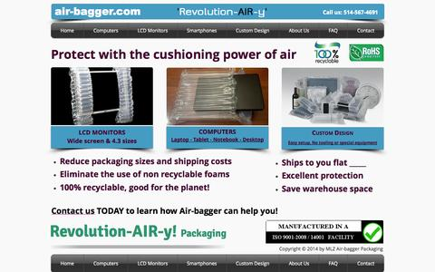 Screenshot of Home Page air-bagger.com - airbag packaging, air packaging for computers, lcd monitors, desktop - captured Oct. 3, 2014