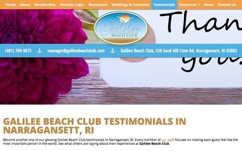 Screenshot of Testimonials Page galileebeachclub.com - Galilee Beach Club Testimonials | Narragansett, RI | Galilee Beach Club - captured July 2, 2018