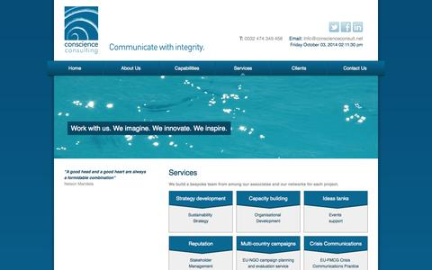 Screenshot of Services Page conscienceconsult.net - Conscience Consulting - Thought Leadership - captured Oct. 3, 2014