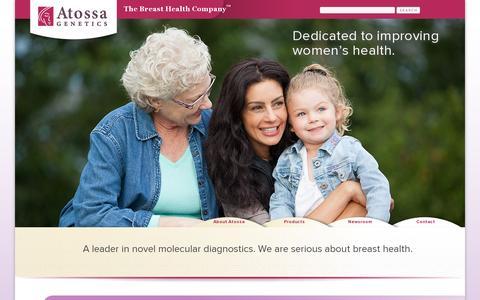 Screenshot of Home Page atossagenetics.com - Atossa Genetics - captured July 11, 2014