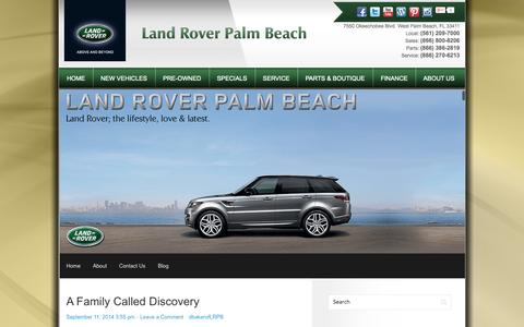 Screenshot of Blog landroverpalmbeach.com - West Palm Beach, FL Land Rover Dealership | Land Rover Palm Beach | New Land Rover and Used Autos Dealer. - captured Sept. 29, 2014