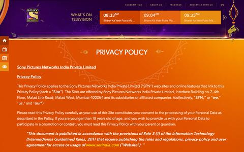 Screenshot of Privacy Page setindia.com - Sony Entertainment Television (India) | SET India - captured Oct. 19, 2018