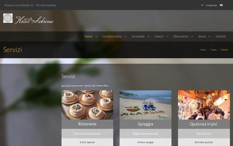Screenshot of Services Page hotelsabrinaalassio.com - Hotel Sabrina Alassio - captured June 1, 2016