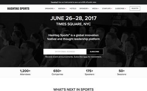 Screenshot of Home Page hashtagsports.com - Hashtag Sports | Media, Tech, Digital, Sponsorship & Advertising - captured May 15, 2017