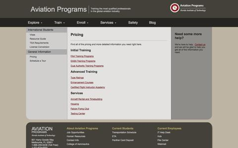 Screenshot of Pricing Page fitaviation.com - Florida Institute of Technology - captured Oct. 5, 2014