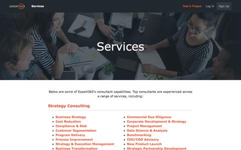 Screenshot of Services Page expert360.com - Consulting Services - Expert360 - captured Jan. 3, 2017