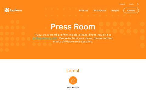 Screenshot of Press Page appnexus.com - Press Room | AppNexus - captured June 22, 2018