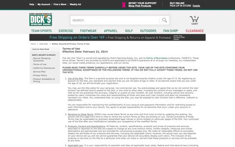 Screenshot of Terms Page dickssportinggoods.com - Dick's Sporting Goods – Official Site – Every Season Starts at Dick's - captured Sept. 19, 2014
