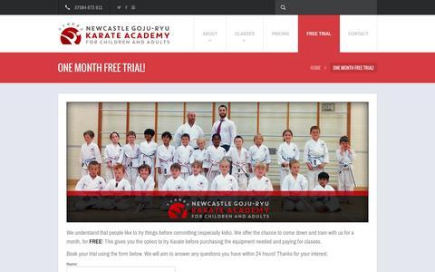 Screenshot of Trial Page karate-newcastle.co.uk - ONE MONTH FREE TRIAL! | Newcastle Goju-Ryu Karate Academy - captured Feb. 16, 2016