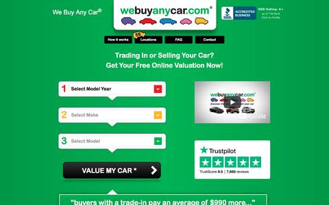 Screenshot of Home Page webuyanycarusa.com - We Buy Any Car® | Sell My Car | Free Online Valuation - captured July 9, 2018