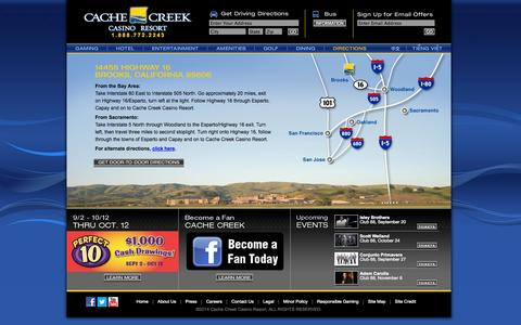 Screenshot of Maps & Directions Page cachecreek.com - Cache Creek - Directions - captured Sept. 19, 2014